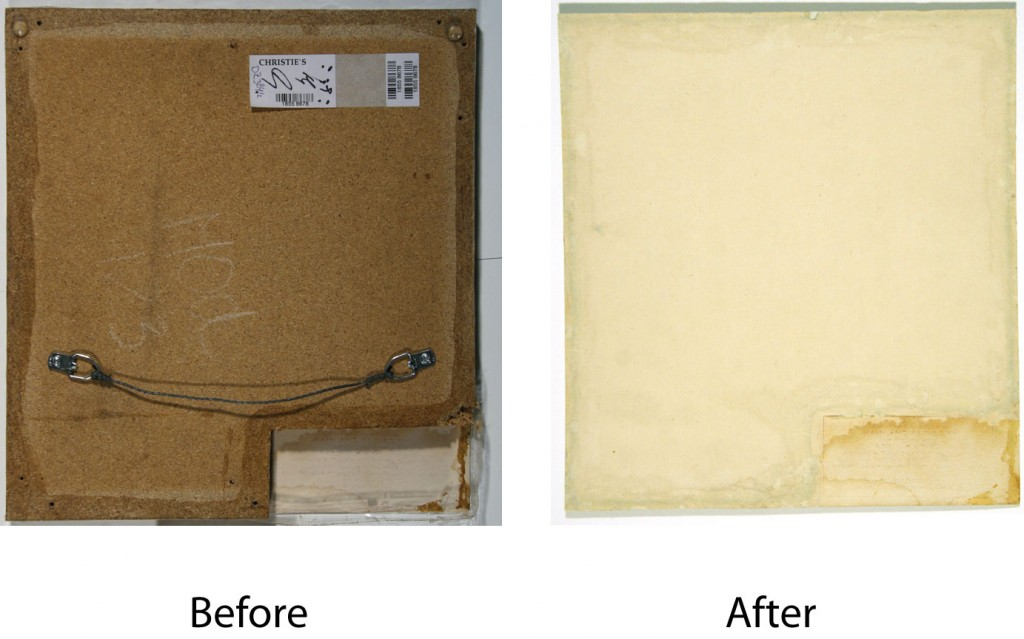 Backing removal and cleaning of back side of 3D lenticular photograph by Andy Warhol