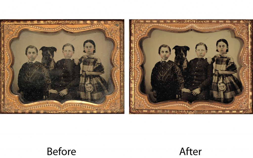 Before and after images of Cleaning of Ambrotype of kids and their dog