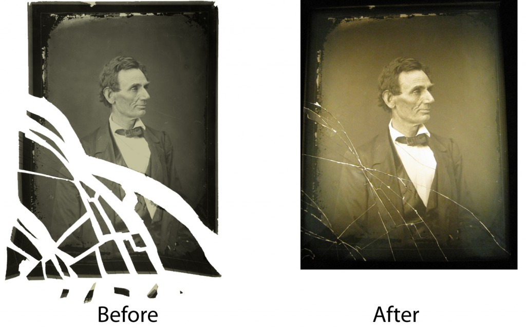 Repair and conservation of Lincoln Glass Plate Interpositive