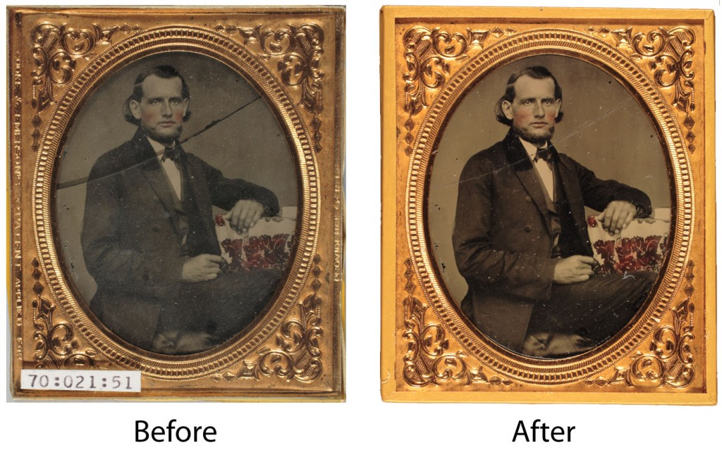 Cleaning and repair of cover glass on vintage ambrotype
