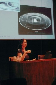 Katharine Whitman shown lecturing at a photograph conservation school in France.