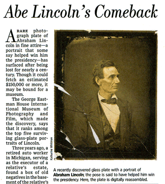 Click to download Wall Street Journal article about the Lincoln photo