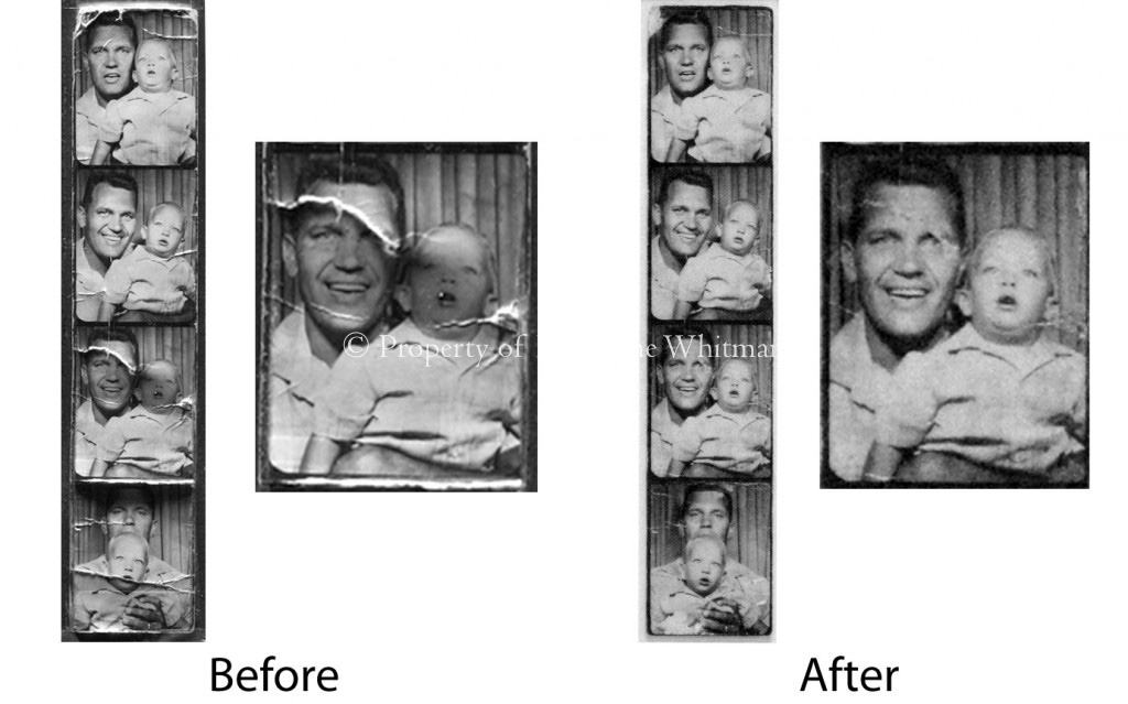 Tape removal, stain removal, gelatin consolidation and in-painting of gelatin silver photo booth strip